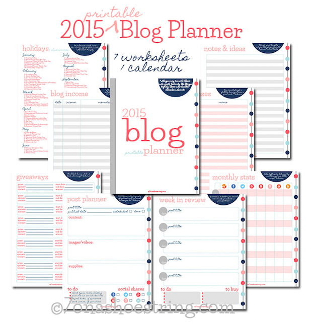 Crafter Tools: Printable 2015 Blog Planner