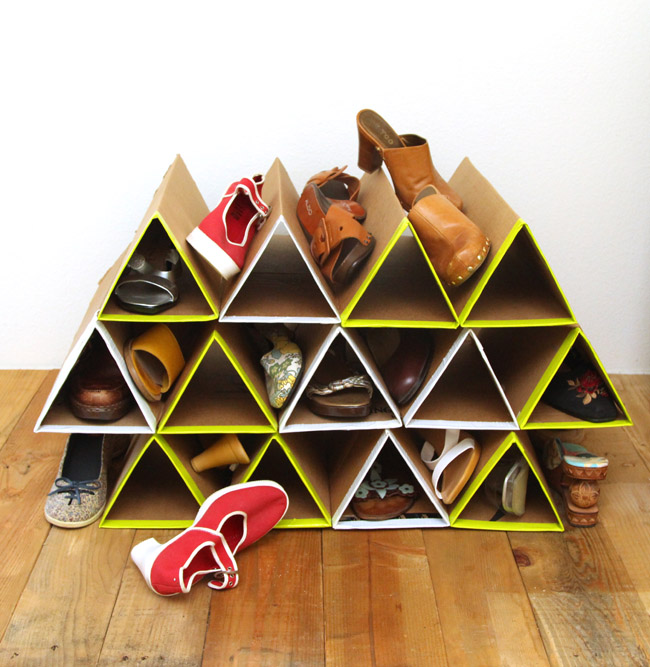 Unclutter With This Sturdy Cardboard Shoe Rack