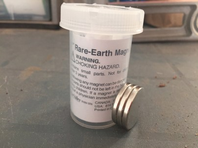 "1) These 1"" diameter rare-earth magnetics (neodymium) are extremely strong. One of the hardest parts of this project is separating them from each other!"
