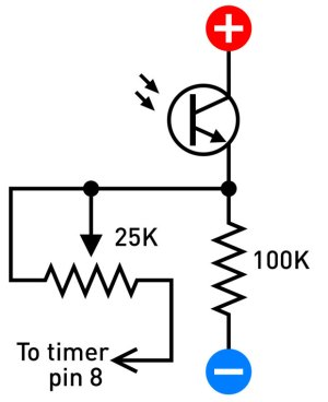 Figure F. A phototransistor can be substituted for each photoresistor, using a 100k resistor as shown here. Servo control may be rougher. Make sure the shorter lead connects with the positive power supply.