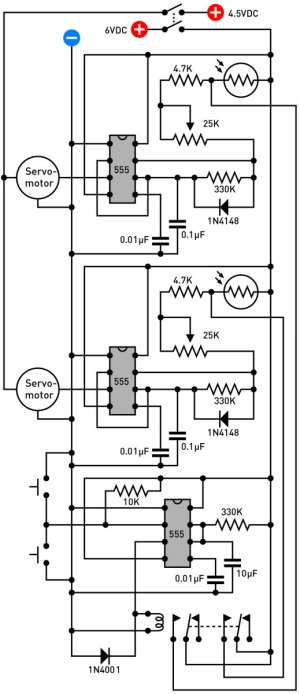 Figure G. The complete schematic for control electronics to run your obedient servo.