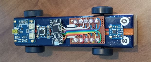 Figure 2. The Arduino-Powered Pinewood Derby Car.