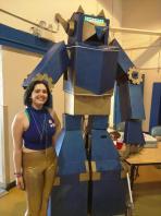 Gatobot is an interactive cardboard robot by Rhiannon Johnson in Dan Frazier's art class at Benicia High School