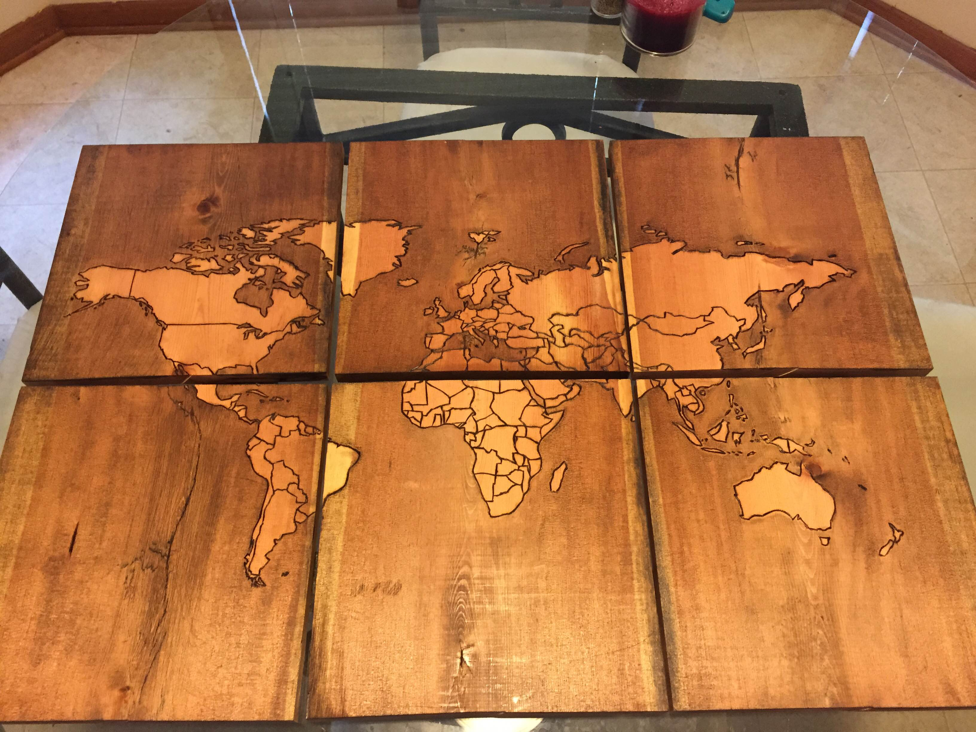 Beautiful Map of the World Burned Into Scrap Wood