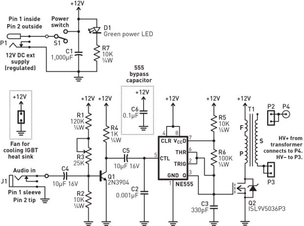 Plasma ball driver schematic Arduino Rasberry Pi
