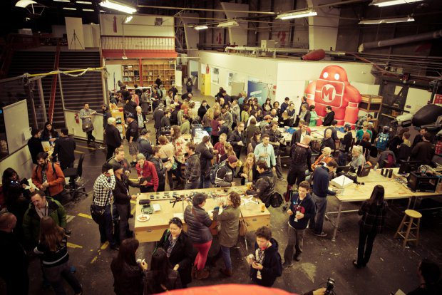 The Make Lab, full of makers at our recent wearables get together.