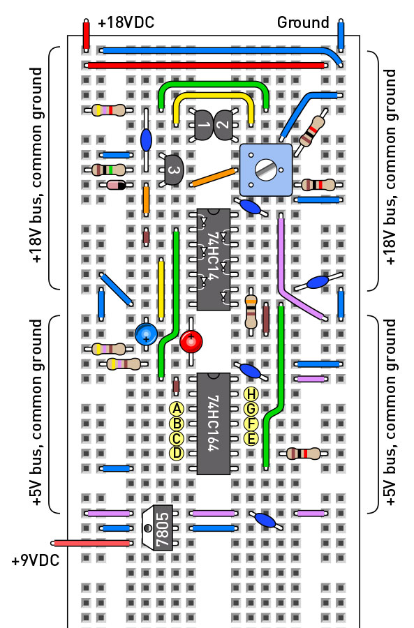 Figure B. Breadboarded version of the schematic in Figure A. This type of breadboard has a break in each vertical bus, allowing separate voltages to be used as shown.