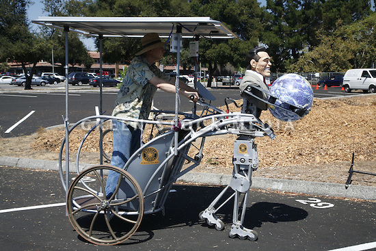Bob Schneeveis on one of his solar walking chariots.