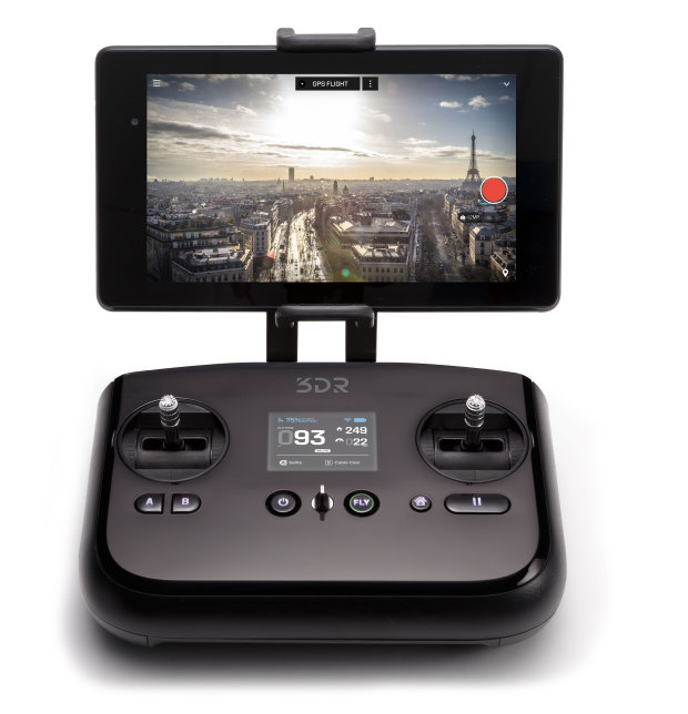 The 3DR Solo transmitter includes an integrated display and user-definable controls for advanced users.