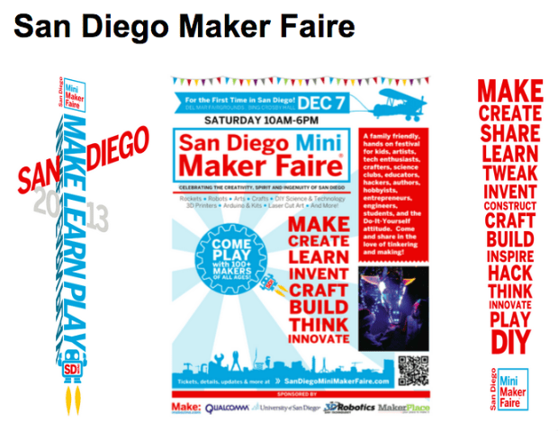 Various Banners and Signs from San Diego Mini Maker Faire