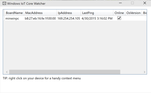 Windows IoT Core Watcher