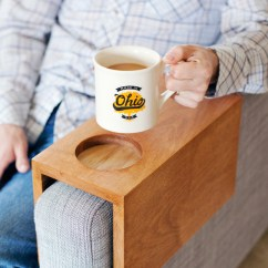 Sofa Armrest Drink Holder Zebra Dfs Hack: Wooden Table With Built-in Cup ...