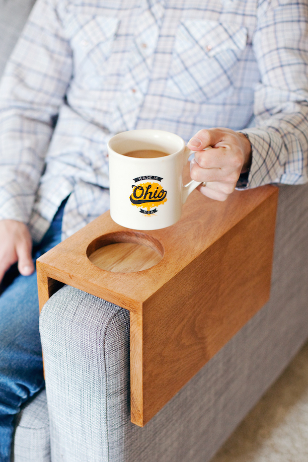 Nice Sofa Hack: Wooden Armrest Table With Built In Cup Holder