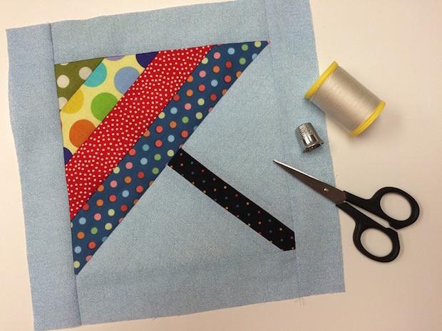 Springtime Stitches: April Showers Umbrella Quilt Block
