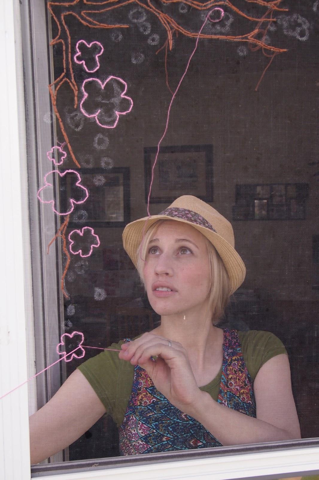 Stiching Flowers on Your Screen Door
