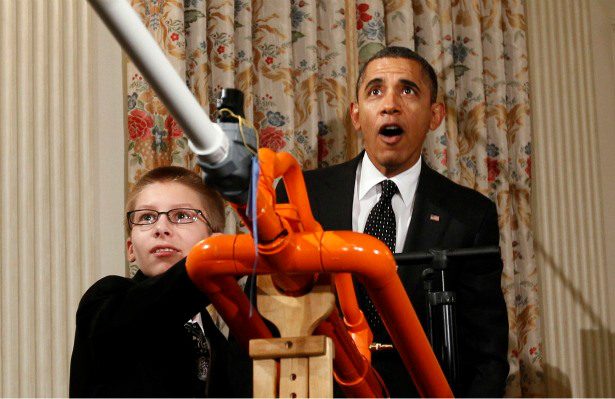 """Joey Hudy wows the President and the world with his marshmallow cannon in the White House and his call of """"Don't be bored, make something."""""""