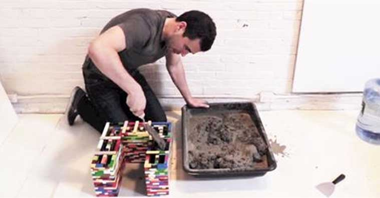 How to Make Textured Concrete Nesting Tables from Lego Molds