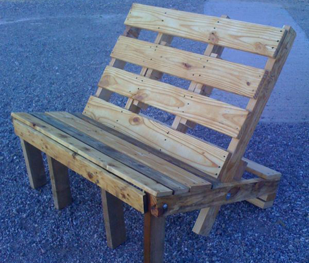 Pallets can easily be repaired and reused as pallets, but when they are broken or cut beyond repair, they make great upcycled furniture