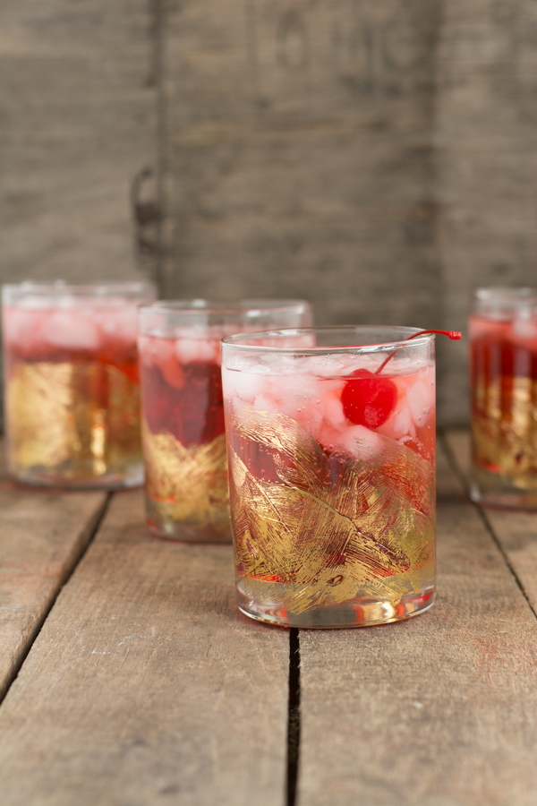 Cocktail Bling: Gold Foil Glass Tumblers