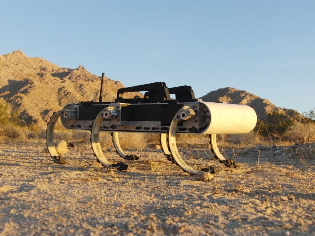 The RHex robot is capable of traversing almost any terrain thanks to its unique appendages with rubber pads.