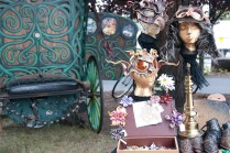 Handmade accoutrements and gypsy wagon in the Steampunk zone.