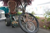 Wheels inside a wheel embellish this crazy home-built trike.