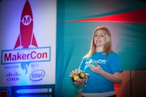 Taryn Sullivan from Dexter Industries and a Raspberry Pi robotics kit called GoPiGo. The base kit sells for $89 and can be upgraded with wireless video cameras, Nerf dart turrets, and other accessories.