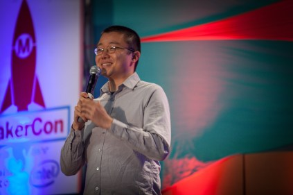 """The competition kicked off with Timothy Chen from Serenety [http://www.sereneti.com/] and a new kitchen appliance called Cooki. The product looks like a kitchen top mixer and the gist of the pitch was """"a Keurig for food""""."""