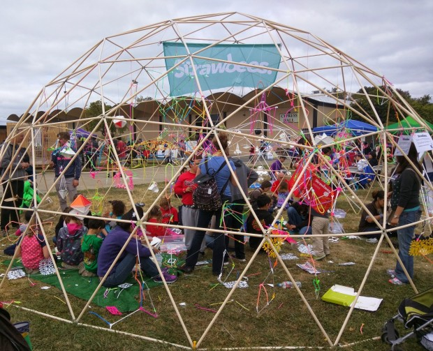 Buckminster Fuller revisited. Strawbees activities took place inside a geodesic dome.