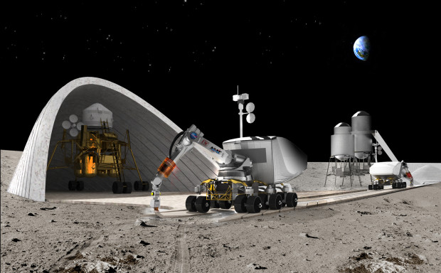 A Contour Crafting robot prints a road in front of a hangar for a lunar lander. (CREDIT: Behnaz Farahi)