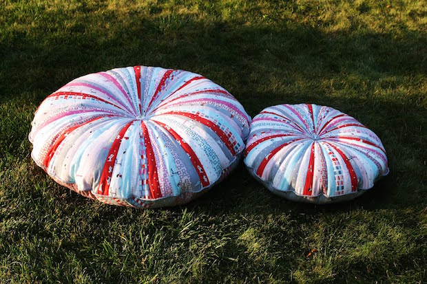 Stylish Stitched Seating: Jelly Roll Floor Pillow