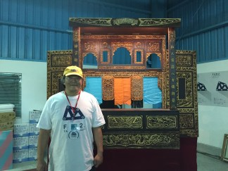 Bob Chen and his amazing laser cut puppet theater (prototype 1, he made an additional, lighter one for Maker Faire Taipei).