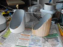 """The """"tail"""" end of each warp engine is made from a slice of mailing tube with a whole slew of individual square-cross-section balsa pieces."""