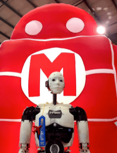 InMoov and Makey the Robot both travel a lot. They had a lot of catching up to do!