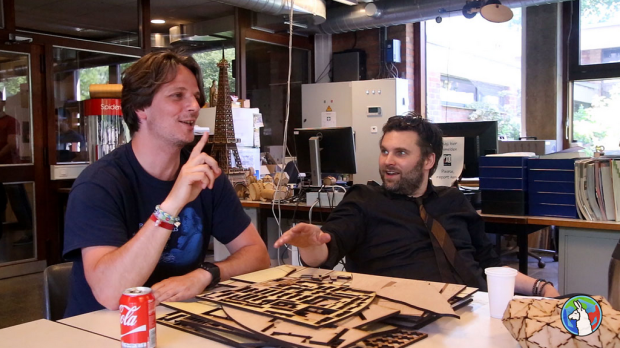 Marc Lambaerts, manager of Fab Lab Leuven and Lieven Standaert, manager of Fab Lab Brussels have a candid conversation about keychains.