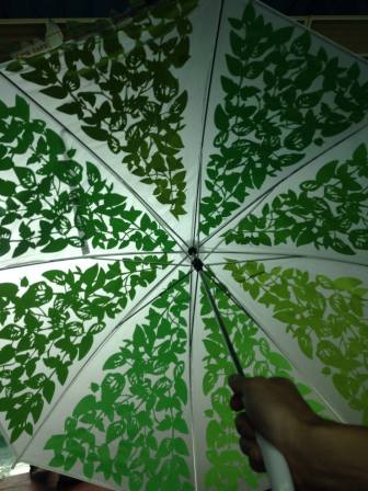 The completed umbrella is ready for Maker Faire!