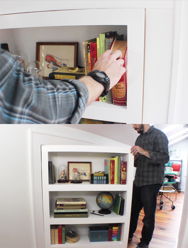 Secret Door/Bookcase With Book Latch by  Bob Clagett — via I Like to Make Stuff
