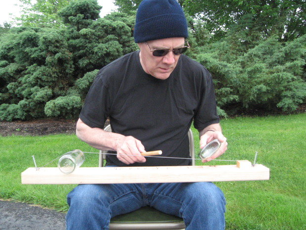 Diddley Bow — Build it with just a board, a wire, and a jar in about 10 minutes.
