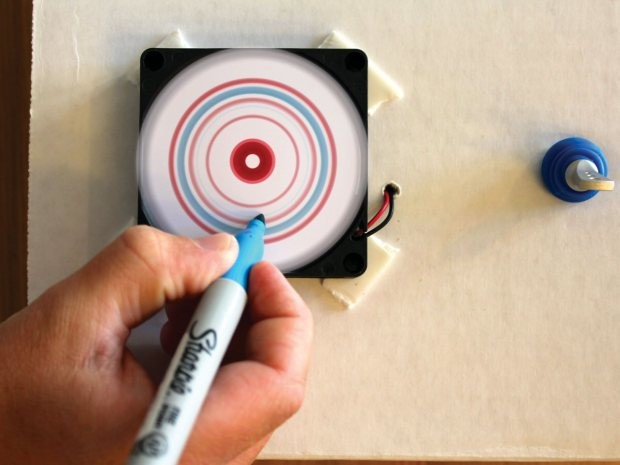 "Mini Spin Art — Turn electronic ""junk"" into into a cool DIY art tool."