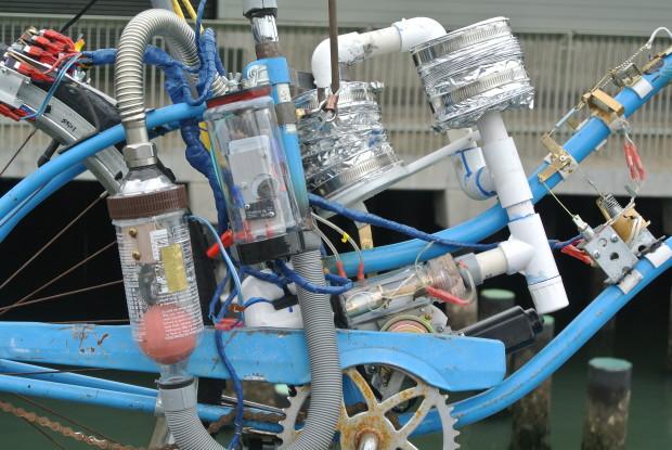 Bosun's whistle tide bike art installation