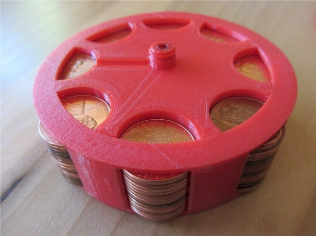A close-up of the penny-filled flywheel design used to propel the toy.
