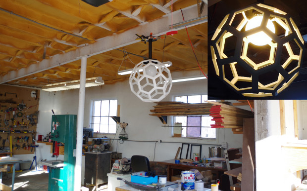 This interesting 20 sided polyhedron light fixture was originally meant to go in ben ezzells house but now resides in his workshop