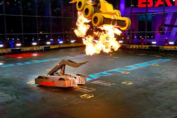 Flaming combat bots on Battle Bots. Photo: ABC
