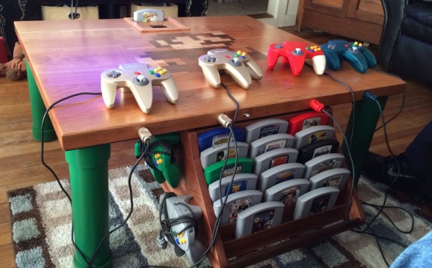 Custom Nintendo 64 Game Table With Mario Mosaic Make
