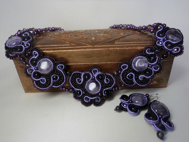 "The soutache necklace ""Amethyst"""