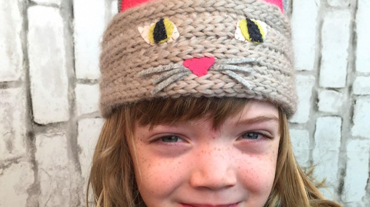 kid knits kitty cat headband make