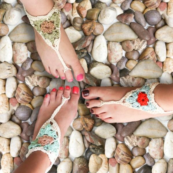 Beach Beauty: Barefoot Crocheted Sandals