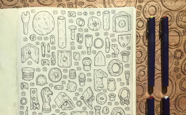 Artist Draws All 100,000 Objects in Grandpa's Shed