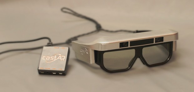 An early version of castAR augmented/virtual reality glasses.