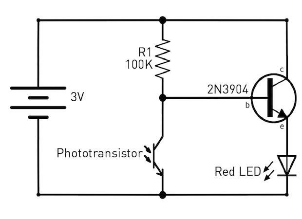 Dark detecting LED schematic
